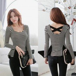 TE6487YZS New style sweet classic stripes splicing long sleeve backless t-shirt