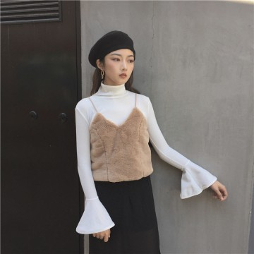 TE697MEH Korean fashion chic plush gallus vest with bishop sleeve t-shirt