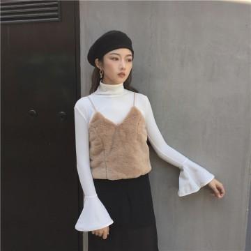 TE697MEH Korean fashion chic plush gallus vest with bishop sleeve t-shirt