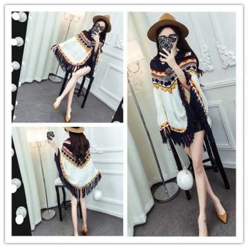 TE1267YYG Tassel geometry national style knitting cloak