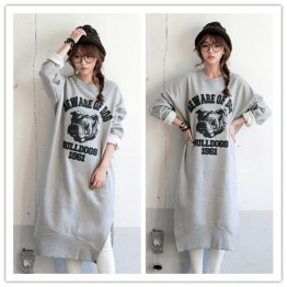 TE1519GJWL Fashion print loose thicken sueded fleece long sweatshirt