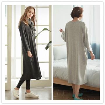 TE1520GJWL Autumn comfortable joker thicken wool flock long dress