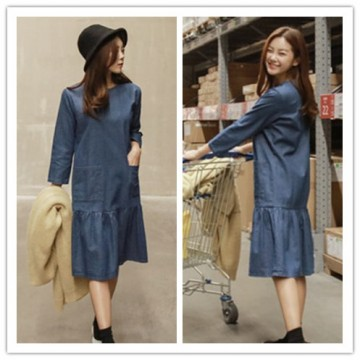 TE1521GJWL Korean fashion autumn loose denim dress