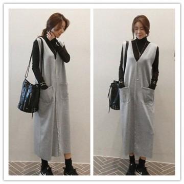 TE1523GJWL V neck pocket vest dress