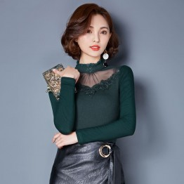 TE3002WSSP New style large size mesh lace splicing wool lining backing shirt