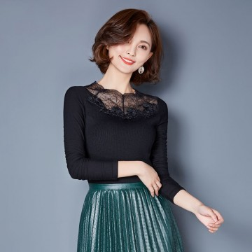 TE3005WSSP New style large size mesh lace splicing wool lining backing shirt