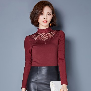 TE3006WSSP New style large size mesh lace rhinestone wool lining backing shirt