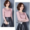 TE3010WSSP New style large size mesh lace splicing wool lining backing shirt