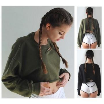 TE5176EQFS Euramerican fashion holes batwing sleeve loose short sweatshirt