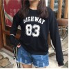 TE6223MDFS Korean fashion preppy style letters print long sleeve sweatshirt