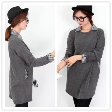 TE1401GJWL Autumn new style checks splicing sueded long tops