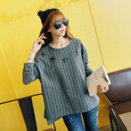 TE1402GJWL Korean fashion casual loose stripes embroidery t-shirt