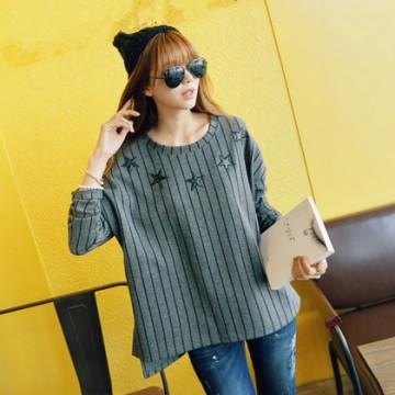 TE1402GJWL Korean fashion casual loose stripes embroidery t-shirt