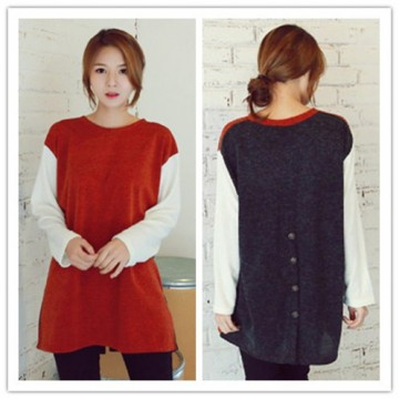 TE1406GJWL Korean style loose color matching back buttons long t-shirt
