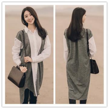 TE1407GJWL Wool flock splicing cotton cloth casual long shirt
