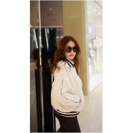 TE1411GJWL New style Korean fashion thicken embroidery stripe collar fuzz coat