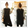 TE1413GJWL Korean fashion flouncing checks sleeve splicing fake two piece dress