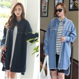 TE1515GJWL Fashion joker tassel edge irregular thicken denim coat