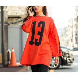 TE1524GJWL Large size casual letters print long t-shirt