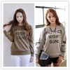TE1525GJWL Casual fashion letter print holes sleeve lace splicing t-shirt