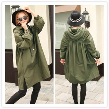 TE1526GJWL Large size casual joker wind coat with cap
