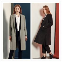 TE1529GJWL Euramerican fashion suit collar joker two-side woolen coat