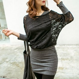 TE1530GJWL Autumn style lace splicing batwing sleeve fake two piece dress