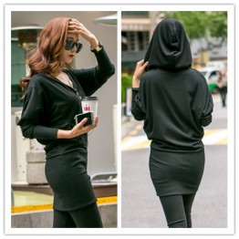 TE1531GJWL Autumn style batwing sleeve zipper tight hip dress with cap