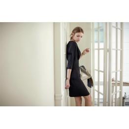 TE1415GJWL Euramerican fashion v neck slim waist temperament elegant dress