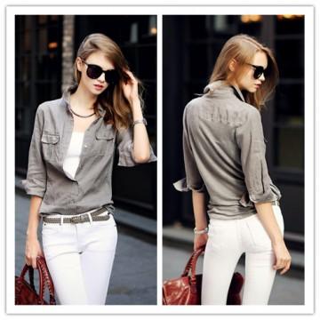 TE1417GJWL Euramerican fashion casual lycra back splicing denim shirt