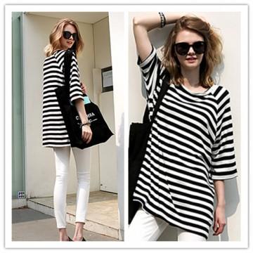 TE1419GJWL Euramerican fashion slim look A-line stripes long t-shirt