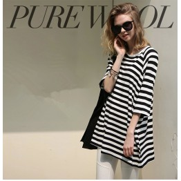 TE1419GJWL Euramerican fashion slim look A-line stripes long t-shirt