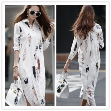 TE1421GJWL New style Korean fashion beauties print long shirt dress
