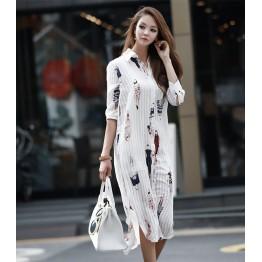 TE1421GJWL New style Korean fashion beauties print long shirt dress