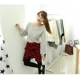 TE1533GJWL Casual joker irregular checks skirt with leggings fake two pieces
