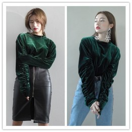 TE1534GJWL Joker fashion drape sleeve velvet tops