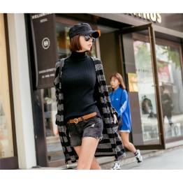 TE1535GJWL New style casual fashion joker cross stripes sweater coat