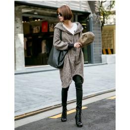 TE1536GJWL Autumn style loose zipper coat with cap