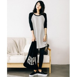 TE3079YZS Fleece splicing contact color raglan sleeve large size pocket dress