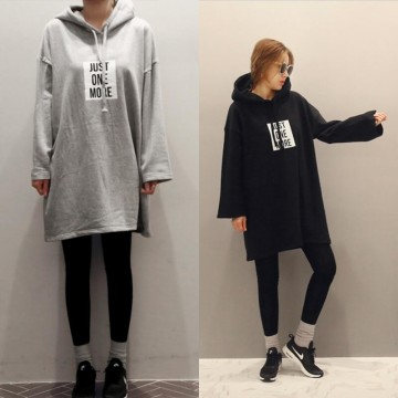 TE3081YZS Letters print loose long sleeve hoodies dress