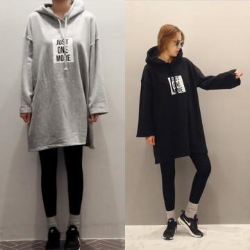 TE3081YZS Letters print loose long sleeve hoodies dress