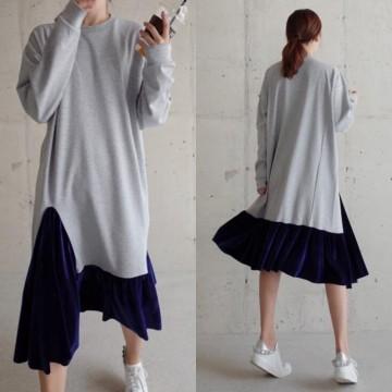TE3082YZS Round neck long sleeve wool hem loose dress