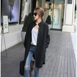 TE6493YZS Large size pure color batwing sleeve slit long coat