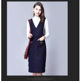 TE6512YZS Euramerican style bowknot A-line suspender woolen dress