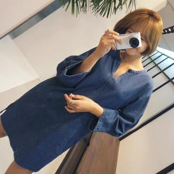 TE6515YZS Long sleeve v neck loose pullover denim dress