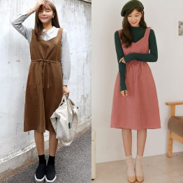 TE6517YZS Multi ways wear suspender slim waist sleeveless wide hem dress