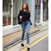 TE6520YZS New style v neck trumpet long sleeve slit knitting tops