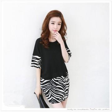TE1427GJWL Fashion zebra stripes splicing dress