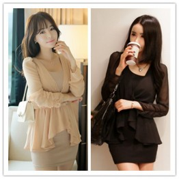 TE1429GJWL Gentle women irregular chiffon splicing vest dress two pieces