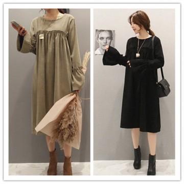 TE1540GJWL Loose Korean fashion trumpet sleeve dress